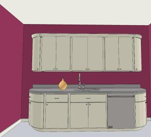 fuschia wall kitchen