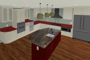 Universal design kitchen perspective view