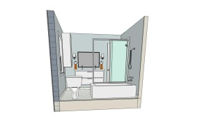 """Perspective view of bathroom with """"invisible"""" back wall"""