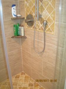 gold travertine shower