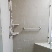 corner shower seat with grab bars