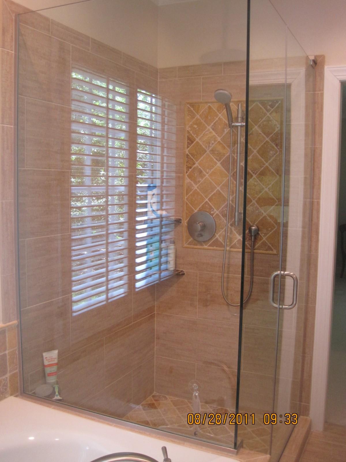 golden travertine shower