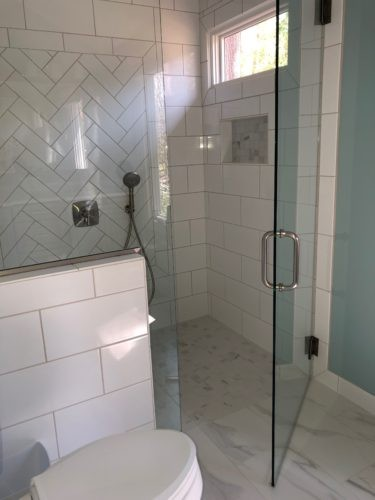 white curbless shower