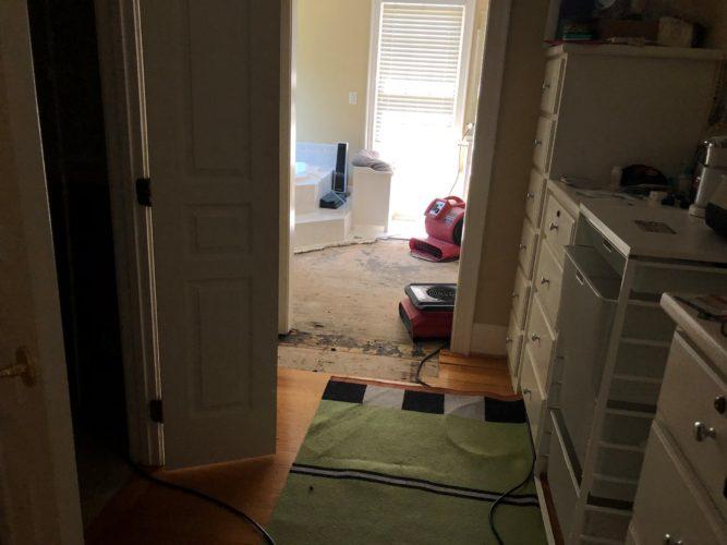 flood damaged bathroom