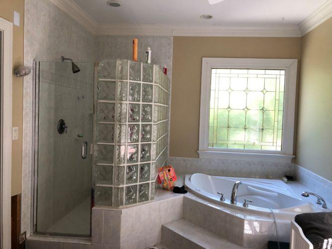 old glassblock shower