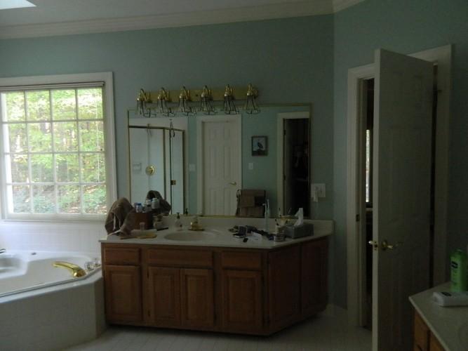 before-built-in oak vanities