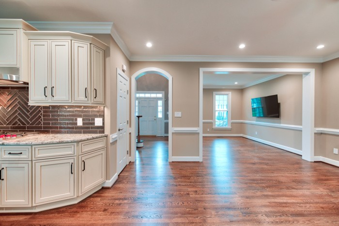 after - kitchen corner cabinets and arched doorway