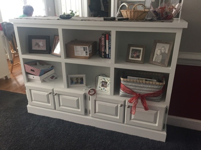 custom-designed and built book case with shelves and doors