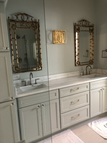 SW Sea Salt cabinets with gold bamboo-look mirrors