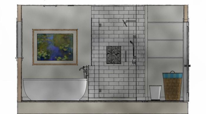Freestanding tub/white shower elevation